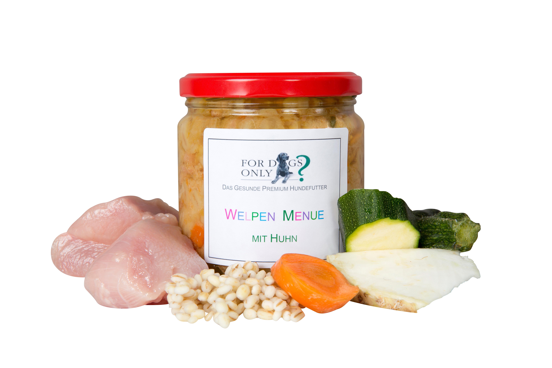 Premium Hundefutter Welpenmenue mit Huhn