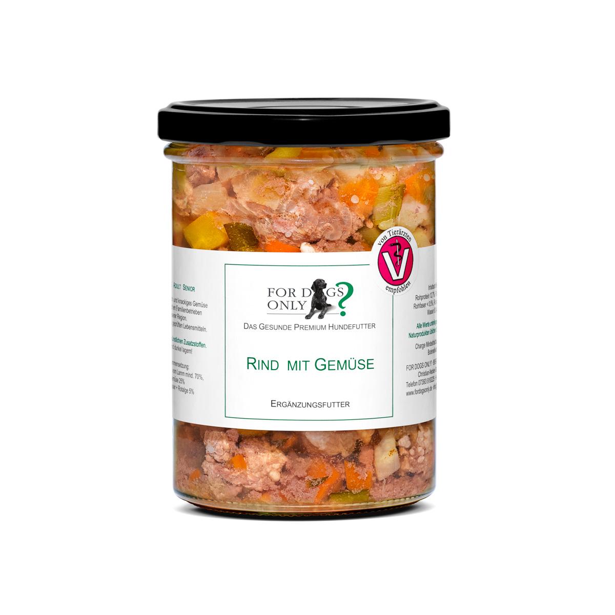 Premium Hundefutter Rind mit Gemüse